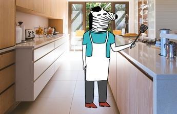 Opravu koupelny a kuchyně.