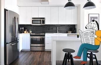 Nové podlahy, nový sporák, vybavení obývacího pokoje
